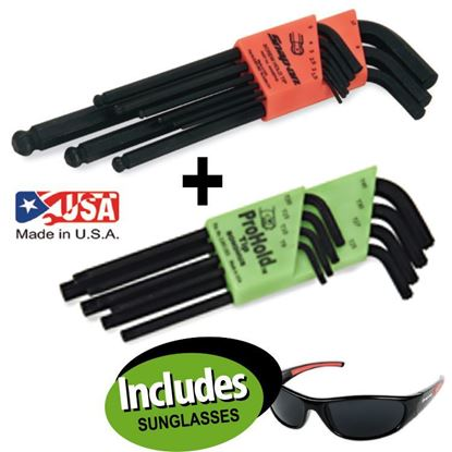 Picture of XXAPR225 Imperial Equivalent PROHOLD Ball Hex Allen Key Set 9pc & Torx Allen Key Set 8pc Includes Sunglasses